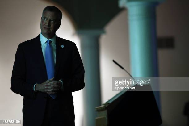 New York Mayor Bill de Blasio delivers a speech to mark his first 100 days in office at Cooper Union on April 10 2014 in New York City De Blasio...