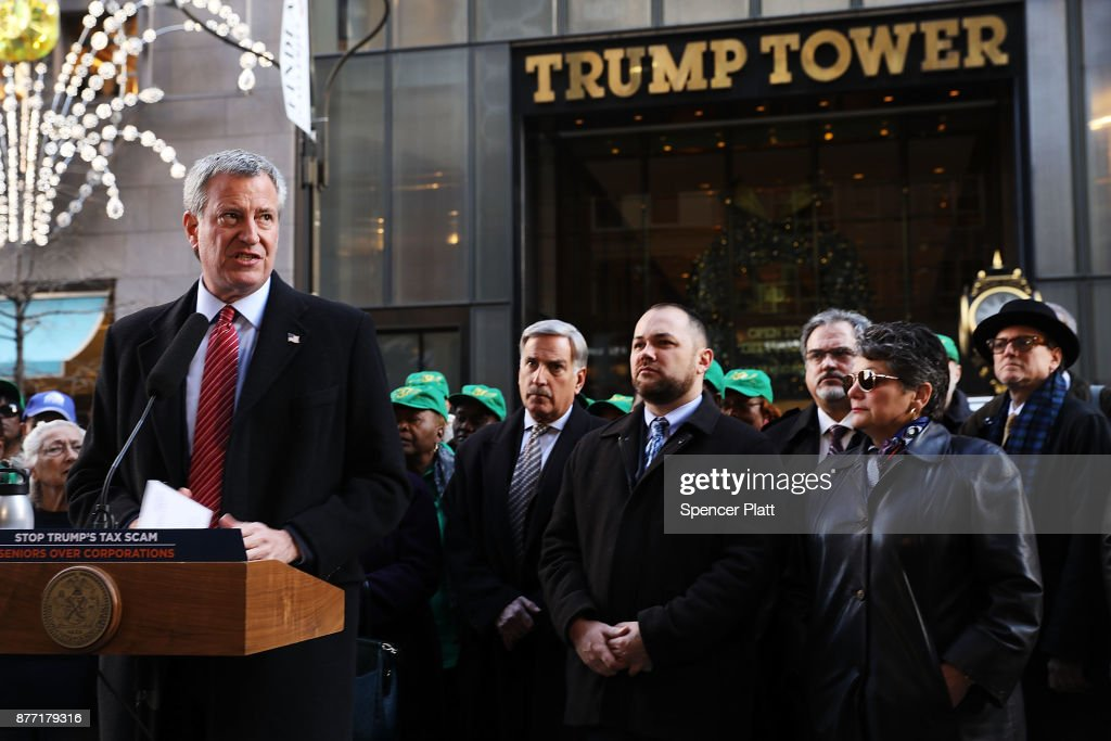 NYC Mayor De Blasio Joins Rally At Trump Tower Protesting GOP Tax Plan