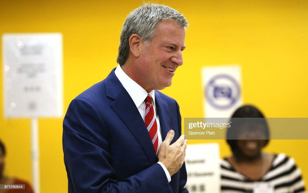 New York City Mayor Bill De Blasio Casts His Vote In City's Mayoral Election