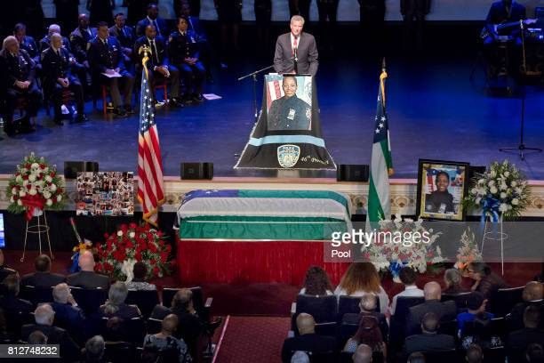 New York Mayor Bill deBlasio speaks during the funeral for New York City Police Officer Miosotis Familia at the World Changers Church July 11 2017 in...