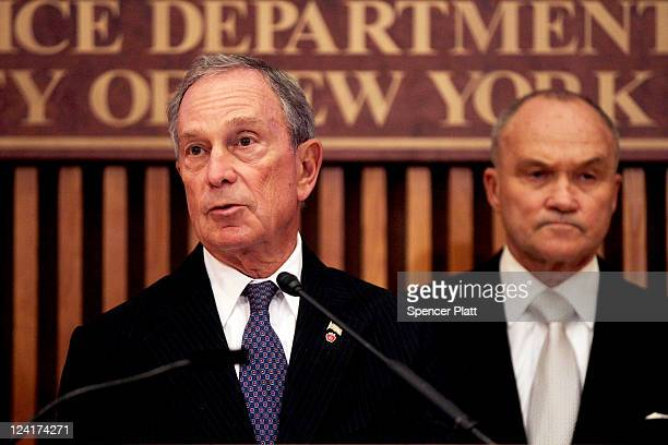 New York Mayor Michael Bloomberg and Commissioner of the New York City Police Department Raymond Kelly speak to the media along with at a news...