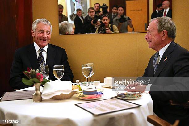 New York Mayor Michael Bloomberg and Secretary of Defense Chuck Hagel have a private lunch at Gabriel's Restaurant on September 26 2013 in New York...