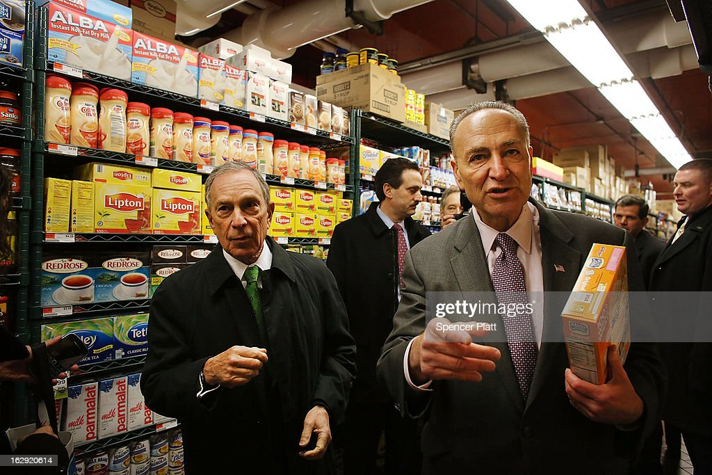 New York Mayor Michael Bloomberg (L) and U.S. Sen. Chuck Schumer (D-NY) shop in the newly re-opened Fairway Market on the waterfront in Red Hook on March 1, 2013 in the Brooklyn borough of New York City. Fairway, which quickly became a popular shopping destination and an anchor in the struggling community of Red Hook, was closed following severe flooding during Hurricane Sandy on October 29, 2012. Like the rest of Red Hook, Fairway has struggled to quickly re-open in a neighborhood that lost dozens of businesses during the storm. The re-opening, which included a ceremony and ribbon cutting featuring Miss America and Mayor Michael Bloomberg, is being viewed as Red Hooks official comeback since the storm.