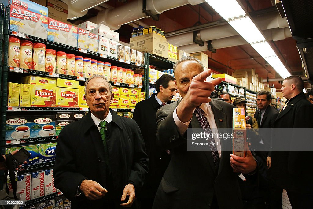 New York Mayor Michael Bloomberg (L) and U.S. Sen. Chuck Schumer (D-NY) shop in the newly re-opened Fairway Market on the waterfront in Red Hook on March 1, 2013 in the Brooklyn borough of New York City. Fairway, which quickly became a popular shopping destination and an anchor in the struggling community of Red Hook, was closed following severe flooding during Hurricane Sandy on October 29, 2012. Like the rest of Red Hook, Fairway has struggled to quickly re-open in a neighborhood that lost dozens of businesses during the storm. The re-opening, which included a ceremony and ribbon cutting featuring Miss America and Mayor Michael Bloomberg, is being trumpeted as the Red Hook neighborhood's official comeback since the storm.