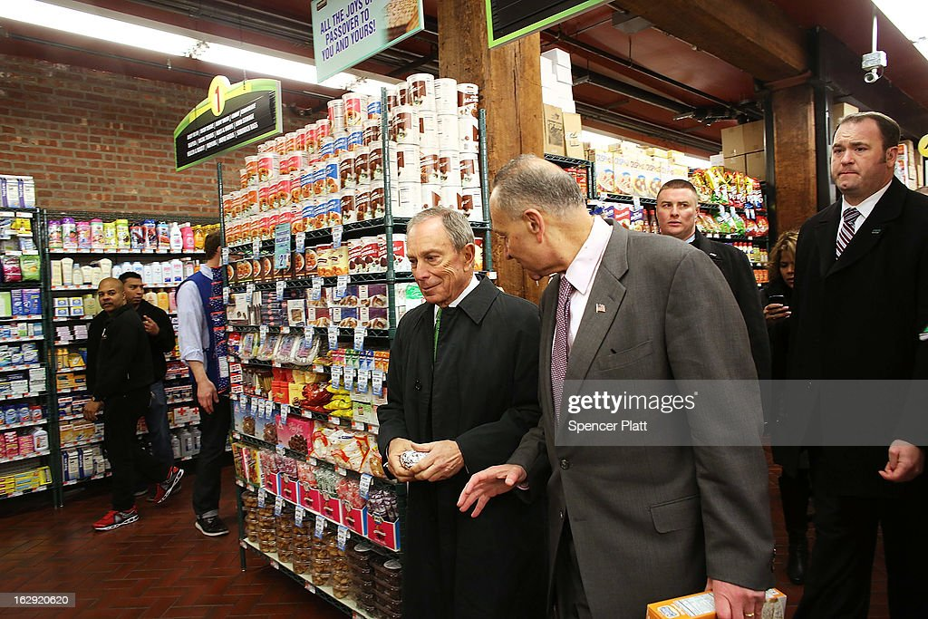 New York Mayor Michael Bloomberg (L) and U.S. Sen. Chuck Schumer (D-NY) walk through the newly re-opened Fairway Market on the waterfront in Red Hook on March 1, 2013 in the Brooklyn borough of New York City. Fairway, which quickly became a popular shopping destination and an anchor in the struggling community of Red Hook, was closed following severe flooding during Hurricane Sandy on October 29, 2012. Like the rest of Red Hook, Fairway has struggled to quickly re-open in a neighborhood that lost dozens of businesses during the storm. The re-opening, which included a ceremony and ribbon cutting featuring Miss America and Mayor Michael Bloomberg, is being trumpeted as the Red Hook neighborhood's official comeback since the storm.