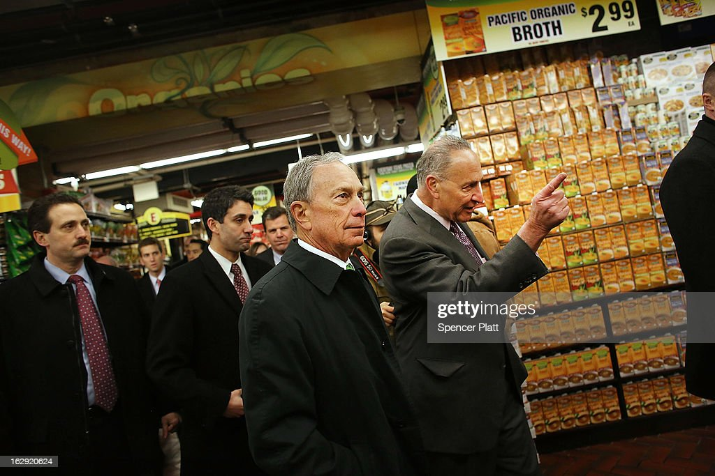 New York Mayor Michael Bloomberg (L) and U.S. Sen. Chuck Schumer (D-NY) walk through the newly re-opened Fairway Market on the waterfront in Red Hook on March 1, 2013 in the Brooklyn borough of New York City. Fairway, which quickly became a popular shopping destination and an anchor in the struggling community of Red Hook, was closed following severe flooding during Hurricane Sandy on October 29, 2012. Like the rest of Red Hook, Fairway has struggled to quickly re-open in a neighborhood that lost dozens of businesses during the storm. The re-opening, which included a ceremony and ribbon cutting featuring Miss America and Mayor Michael Bloomberg, is being viewed as Red Hooks official comeback since the storm.