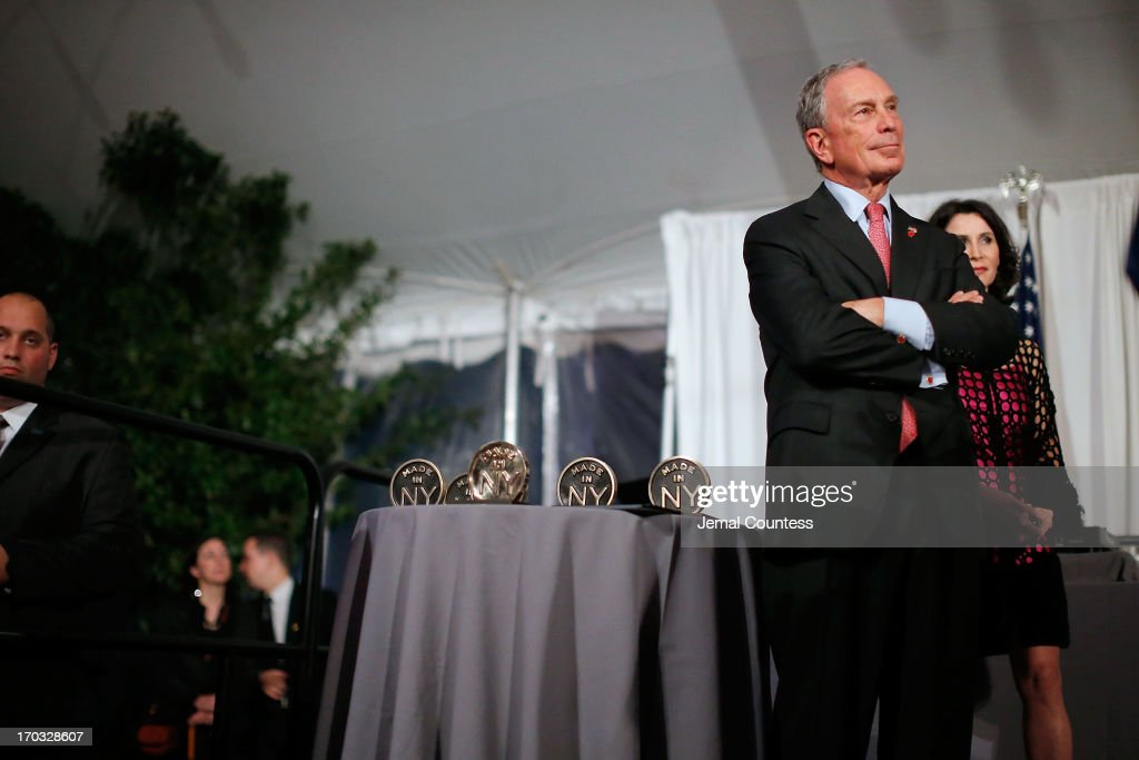New York Mayor <a gi-track='captionPersonalityLinkClicked' href=/galleries/search?phrase=Michael+Bloomberg&family=editorial&specificpeople=171685 ng-click='$event.stopPropagation()'>Michael Bloomberg</a> at the 8th Annual 'Made In NY Awards' at Gracie Mansion on June 10, 2013 in New York City.