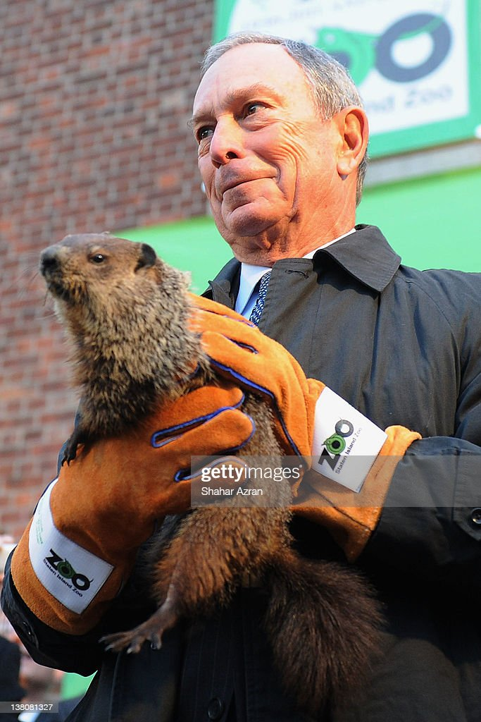 New York Mayor Michael Bloomberg attends the 2012 Groundhog's Day celebration at the Staten Island Zoo on February 2, 2012 in Staten Island borough of New York City.