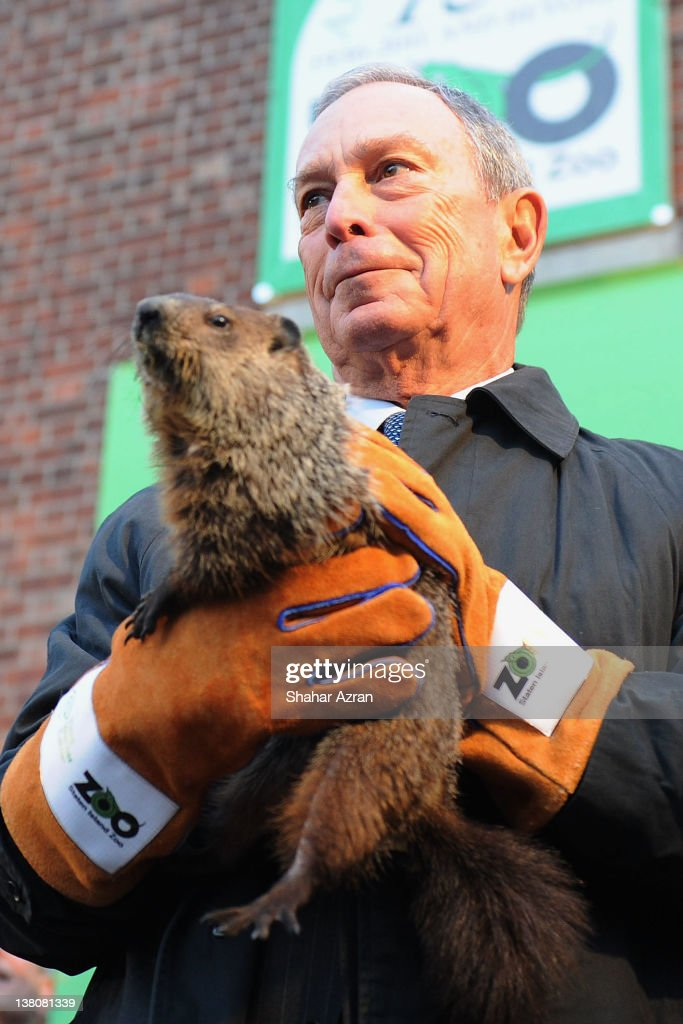 New York Mayor <a gi-track='captionPersonalityLinkClicked' href=/galleries/search?phrase=Michael+Bloomberg&family=editorial&specificpeople=171685 ng-click='$event.stopPropagation()'>Michael Bloomberg</a> attends the 2012 Groundhog's Day celebration at the Staten Island Zoo on February 2, 2012 in Staten Island borough of New York City.