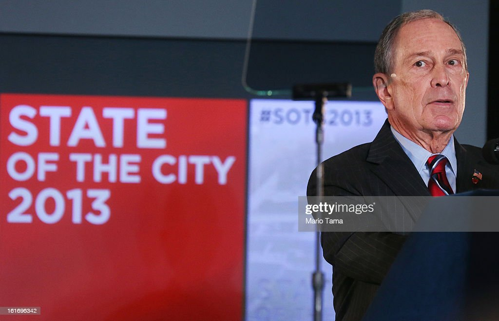 New York Mayor Michael Bloomberg delivers the annual State of the City address at the Barclays Center on February 14, 2013 in the Brooklyn borough of New York City. Bloomberg cited positive statistics including a record 52 million visitors to the city and a record low 419 homicides in 2012 while calling for a ban on styrofoam in the city.