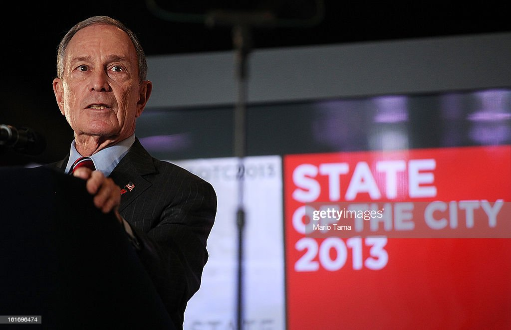 New York Mayor <a gi-track='captionPersonalityLinkClicked' href=/galleries/search?phrase=Michael+Bloomberg&family=editorial&specificpeople=171685 ng-click='$event.stopPropagation()'>Michael Bloomberg</a> delivers the annual State of the City address at the Barclays Center on February 14, 2013 in the Brooklyn borough of New York City. Bloomberg cited positive statistics including a record 52 million visitors to the city and a record low 419 homicides in 2012 while calling for a ban on styrofoam in the city.