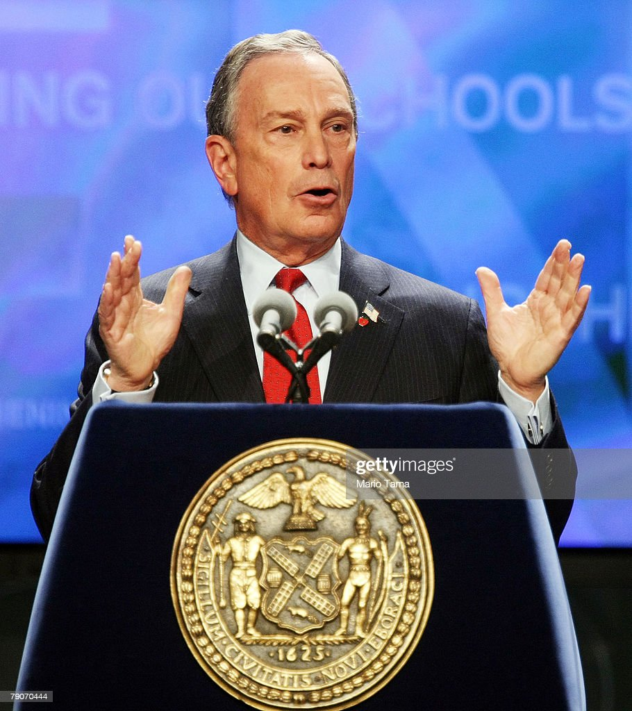 New York Mayor Michael Bloomberg delivers the State of the City address at Flushing Meadows Corona Park January 17, 2008 in the Queens borough of New York City. Bloomberg, who is reportedly considering an independent run at the presidency, derided xenophobic politicians and said immigration and diversity were good for America. Bloomberg spoke against a backdrop of five ethnically diverse families living in Queens.