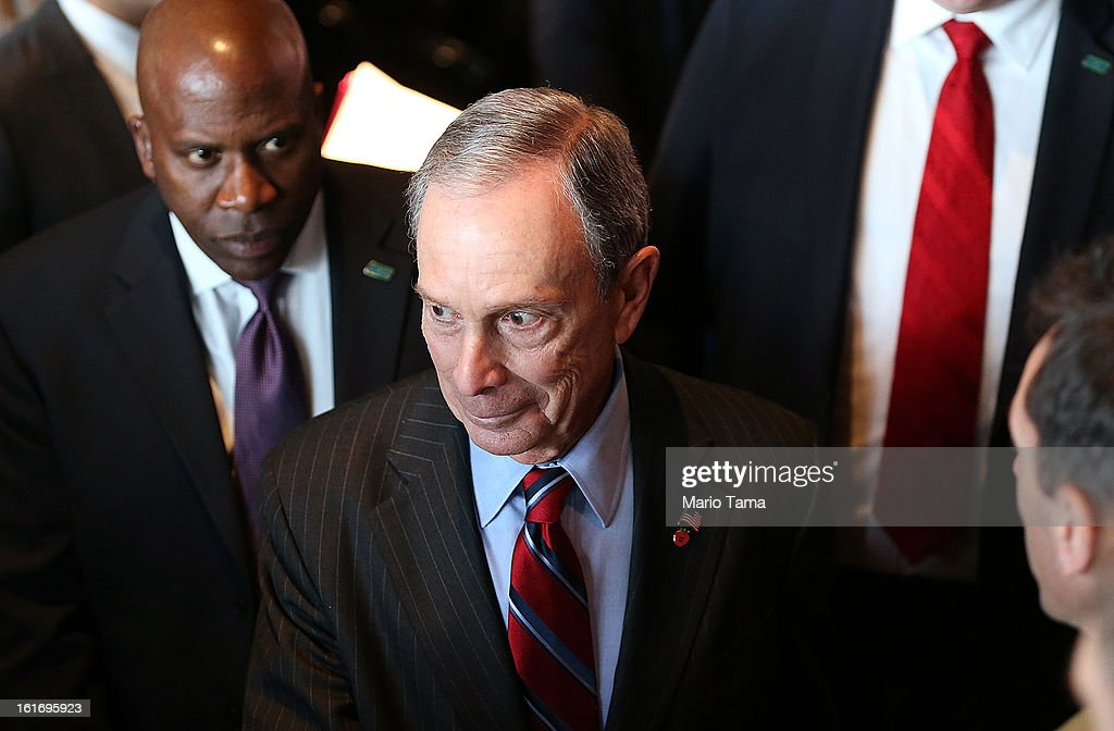 New York Mayor <a gi-track='captionPersonalityLinkClicked' href=/galleries/search?phrase=Michael+Bloomberg&family=editorial&specificpeople=171685 ng-click='$event.stopPropagation()'>Michael Bloomberg</a> exits after delivering the annual State of the City address at the Barclays Center on February 14, 2013 in the Brooklyn borough of New York City. Bloomberg cited positive statistics including a record 52 million visitors to the city and a record low 419 homicides in 2012 while calling for a ban on styrofoam in the city.