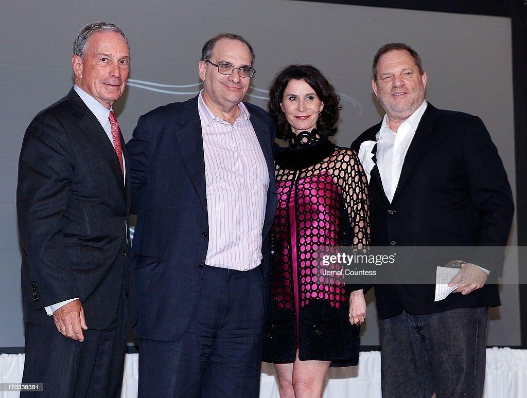 New York Mayor Michael Bloomberg, film executive Bob Weinstein, New York City Film Commissioner Katherine Oliver and film executive Harvey Weinstein onstage as a 'Made In NY Award' is presented to film executives Bob Weinstein and Harvey Weinstein at the 8th Annual 'Made In NY Awards' at Gracie Mansion on June 10, 2013 in New York City.