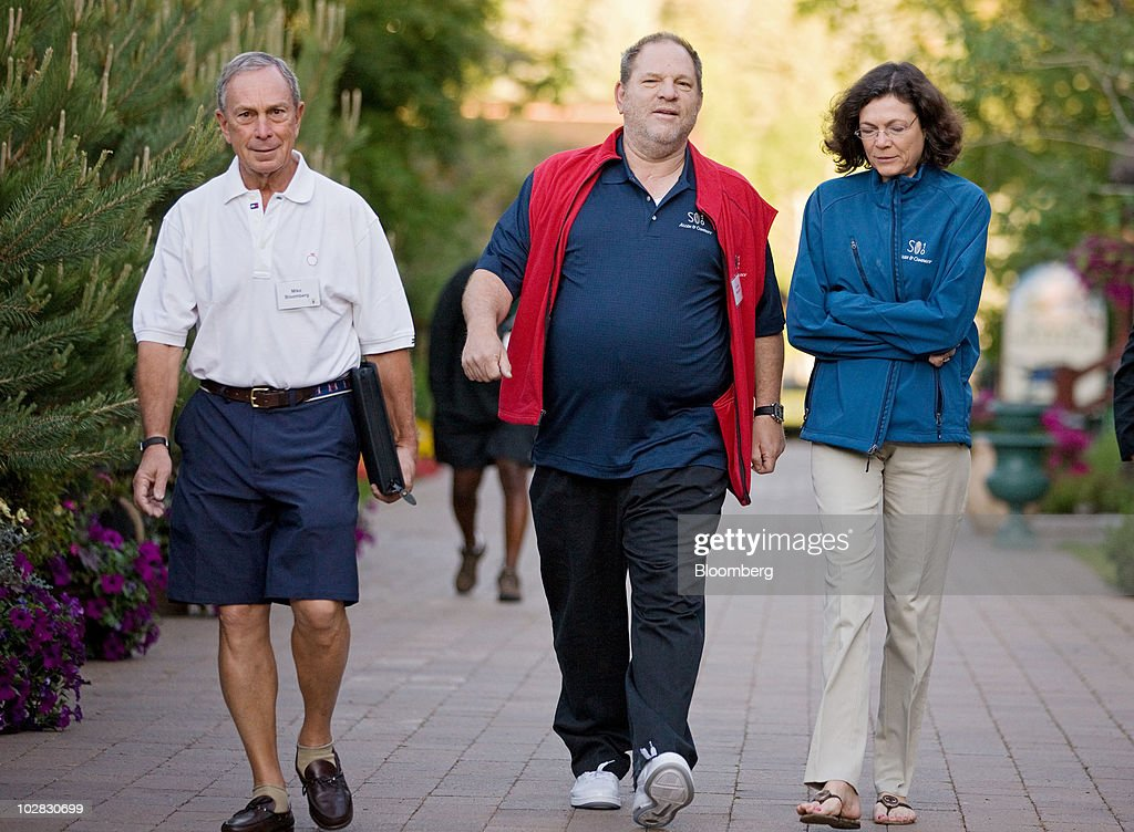 New York Mayor <a gi-track='captionPersonalityLinkClicked' href=/galleries/search?phrase=Michael+Bloomberg&family=editorial&specificpeople=171685 ng-click='$event.stopPropagation()'>Michael Bloomberg</a>, left, <a gi-track='captionPersonalityLinkClicked' href=/galleries/search?phrase=Harvey+Weinstein&family=editorial&specificpeople=201749 ng-click='$event.stopPropagation()'>Harvey Weinstein</a>, founder and co-chairman of Weinstein co., center, and Diana Taylor, a former New York banking superintendent arrive for morning sessions at the 28th annual Allen & Co. Media and Technology Conference in Sun Valley, Idaho, U.S., on Saturday, July 10, 2010. Allen & Co., the boutique New York investment bank, invites executives from start-ups in media and technology to mingle with bankers and moguls at the event. The mixture, along with presentations trumpeting new business models, has led to acquisitions and investments in the past. Photographer: Matthew Staver/Bloomberg via Getty Images