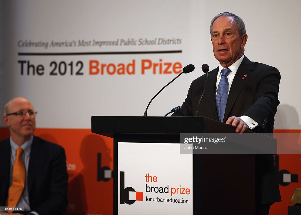 New York Mayor <a gi-track='captionPersonalityLinkClicked' href=/galleries/search?phrase=Michael+Bloomberg&family=editorial&specificpeople=171685 ng-click='$event.stopPropagation()'>Michael Bloomberg</a> speaks ahead of the announcement that Miami-Dade County Public Schools won the 2012 Broad Prize for Urban Education on October 23, 2012 in New York City. The award recognizes a large school district making the greatest progress nationwide in raising overall student achievment while reducing achievement gaps in low-income and minority students. Miami-Dade, a five-time finalist, will receive $550,000 in college scholarships for its high school seniors. The three other finalists, Corona Norco, Houston and Palm Beach, each receive $150,000 in scholarships.