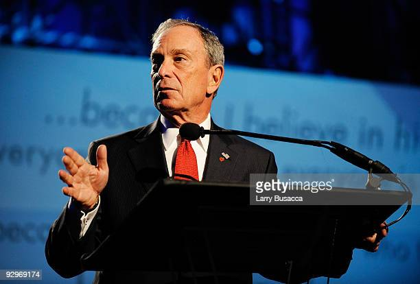 New York Mayor Michael Bloomberg speaks onstage at The 2009 Emery Awards and 30th Anniversary of the HetrickMartin Institute at Cipriani Wall Street...
