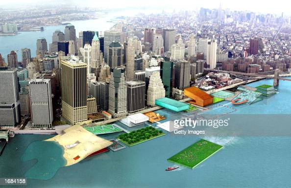 New York Mayor's office released this view of alternate East River waterfront park proposal with a sealevel iceskating rink and hydroponic garden...