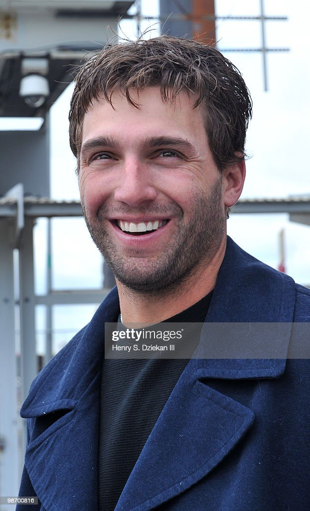 New York Met Jeff Francoeur attends the christening of Delta's Baseball Water Taxis at Pier 11 on April 27, 2010 in New York City.