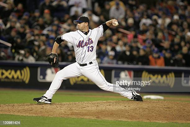 New York Mets Billy Wagner pitching during MLB game 2 of the National League Championship Series against the St Louis Cardinals played at Shea...