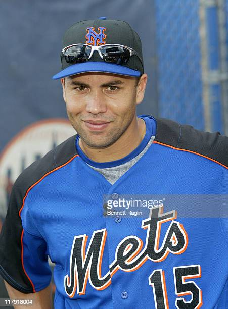New York Mets Carlos Beltran at his 'Harlem RBI' clinic at Shea Stadium in Queens New York on August 8 2006 Beltran pledged $500 for every RBI he hits
