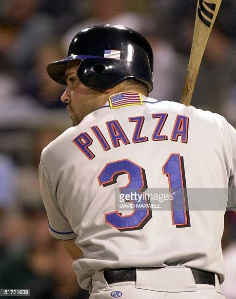 New York Mets catcher Mike Piazza stands in at the plate during the eighth inning against the Pittsburgh Pirates on 17 September at PNC Park in...