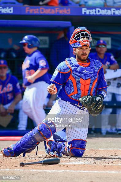 New York Mets catcher Rene Rivera looks on after Houston Astros catcher Brian McCann 16 was hit by a pitch during a Spring Training game between the...