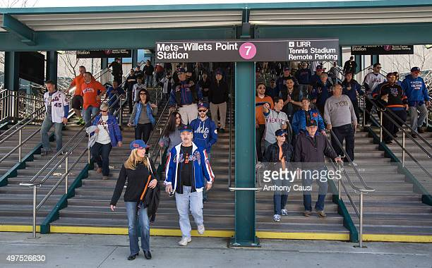 New York Mets fans exit the 7 train on route to Citi Field before the Opening Day game against the Philadelphia Phillies at Citi Field on Monday...