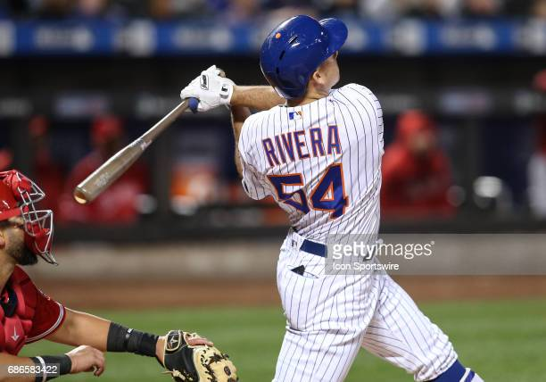 New York Mets Infield TJ Rivera scores New York Mets Right field Jay Bruce on a sacrifice fly during the Interleague game between Los Angeles Angels...