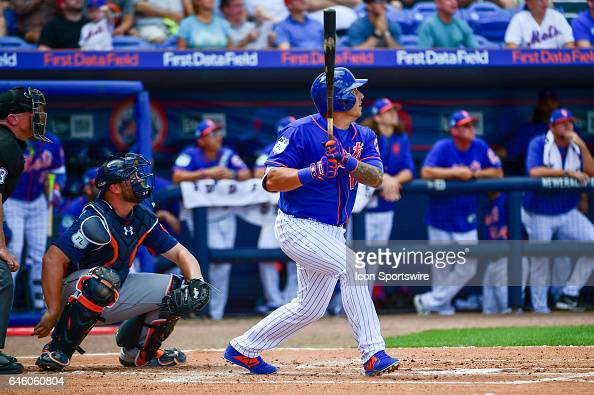 New York Mets infielder Asdrubal Cabrera and Houston Astros catcher Brian McCann 16 watch his solo shot head for the left field wall during a Spring...