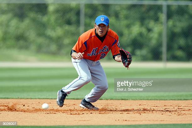 New York Mets infielder Kazuo Matsui of Japan fields a ball during spring training February 29 2004 at in Port St Lucie Florida
