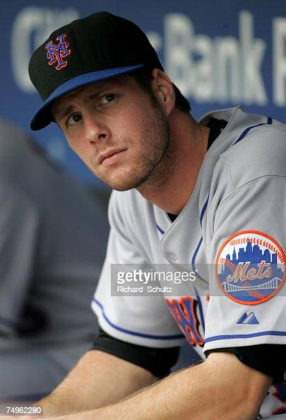 New York Mets' John Maine in the dugout before the start of game one of a double header against the Philadelphia Phillies in Major League Baseball...