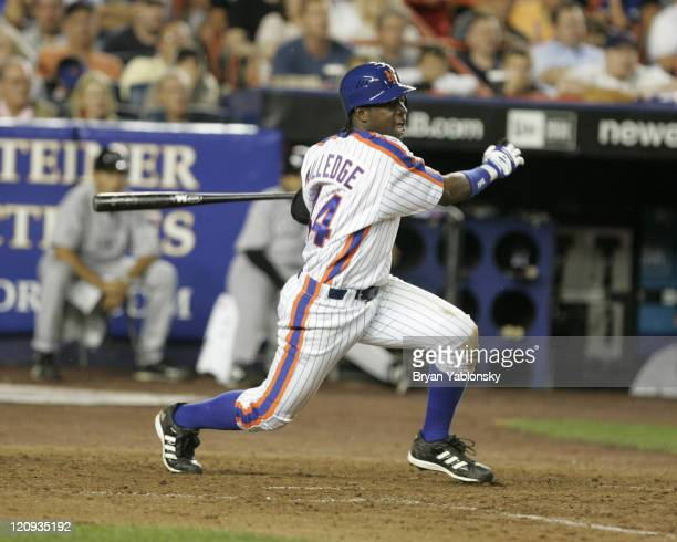 New York Mets Lastings Milledge during a regular season MLB game against the Colorado Rockies played at Shea Stadium in Flushing New York on August...