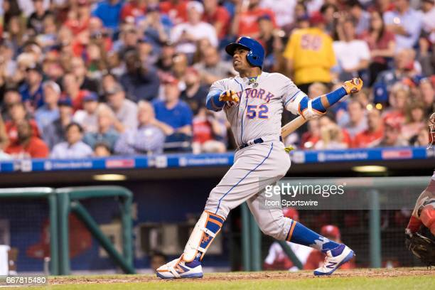 New York Mets Left field Yoenis Cespedes hits his third home run in the fifth inning during the game between the New York Mets and Philadelphia...