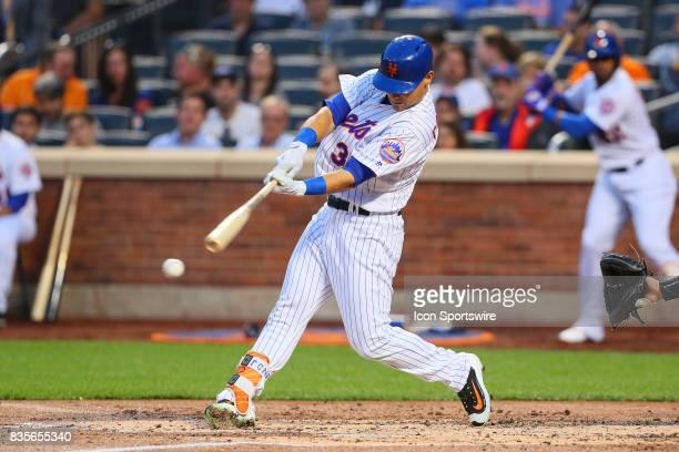 New York Mets left fielder Michael Conforto at bat during the Major League Baseball game between the New York Mets and the New York Yankees on August...