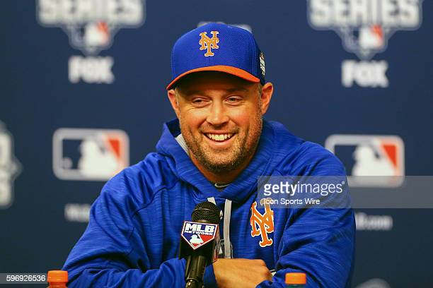 New York Mets left fielder Michael Cuddyer talks during the New York Mets pregame press conference prior to Game 5 of the 2015 World Series between...