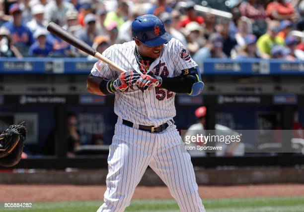 New York Mets Left Fielder Yoenis Cespedes avoids an inside fastball during the game between Philadelphia Phillies and the New York Mets on July 02...