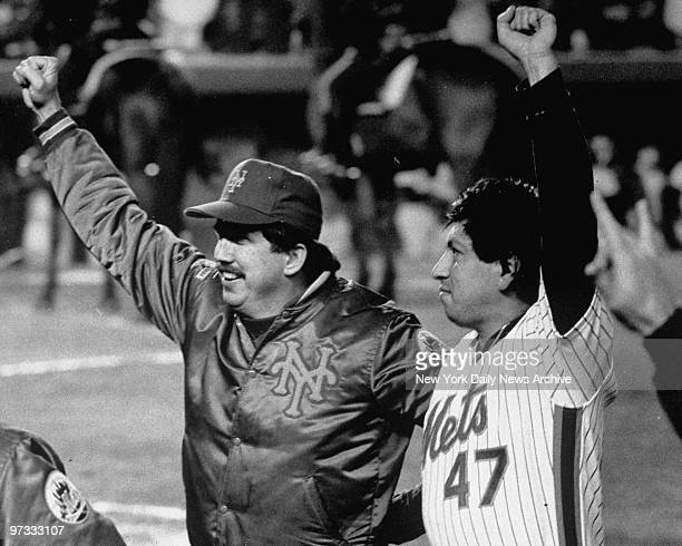 New York Mets manager Davey Johnson and pitcher Jesse Orosco are a powerful pair