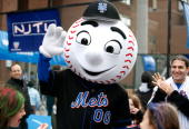 New York Mets mascot Mr Met attends the Family Festival Street Fair Tribeca ESPN Sports Day during the 2008 Tribeca Film Festival on May 3 2008 in...