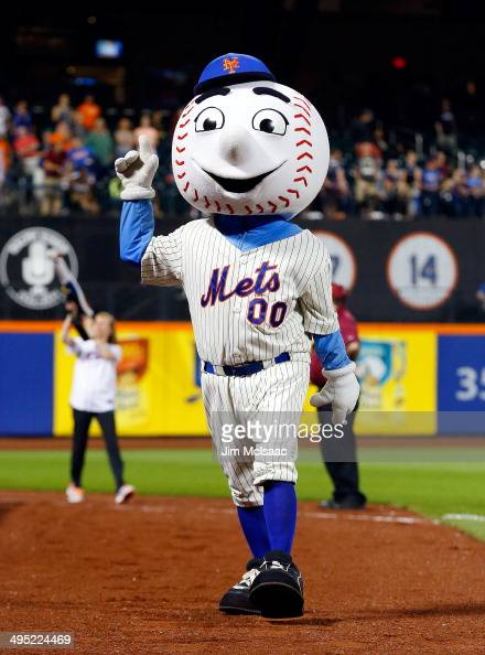 New York Mets mascot 'Mr Met' entertains the crowd between innings of a game against the Pittsburgh Pirates at Citi Field on May 27 2014 in the...