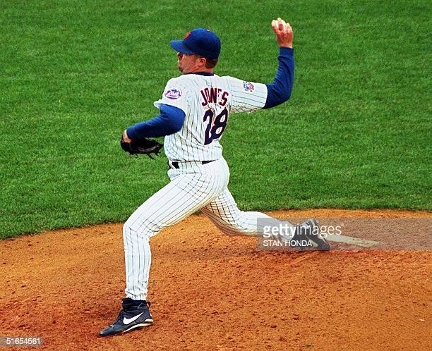 New York Mets pitcher Bobby Jones throws a pitch in their game 17 May against the Colorado Rockies at Shea Stadium in New York Jones pitched eight...
