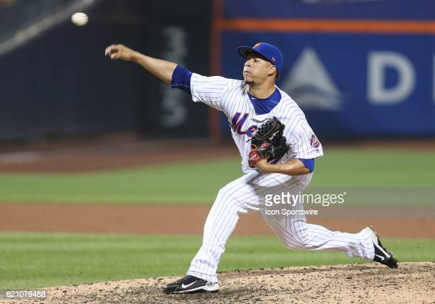 New York Mets Pitcher Hansel Robles earns the win by holding the A's in check during the ninth inning of the game between the Oakland Athletics and...