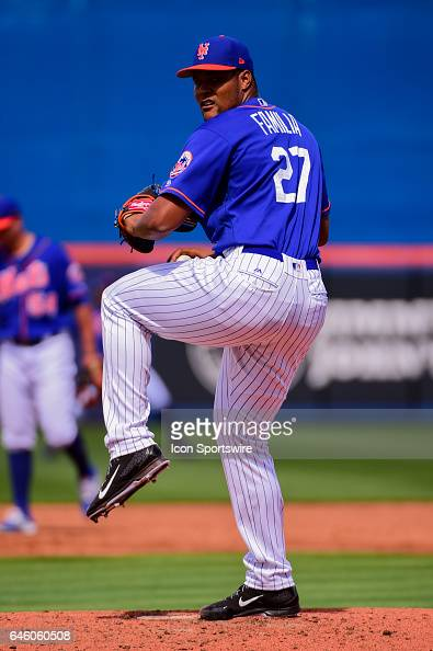 New York Mets pitcher Jeurys Familia delivers a pitch during a Spring Training game between the Houston Astros and New York Mets on February 27 2017...