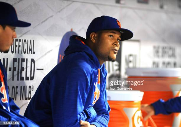 New York Mets Pitcher Jeurys Familia looks on from the dugout during the matchup between New York Mets and the Milwaukee Brewers on May 30 2017 at...