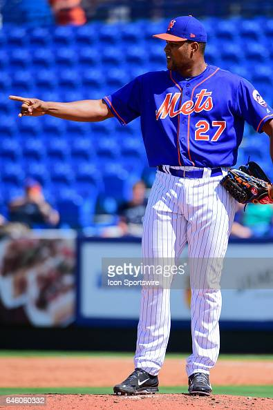 New York Mets pitcher Jeurys Familia talks to his infield during a Spring Training game between the Houston Astros and New York Mets on February 27...