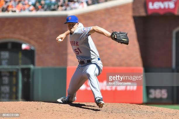New York Mets pitcher Paul Sewald during a MLB game between the New York Mets and the San Francisco Giants on June 25 at ATT Park in San Francisco CA