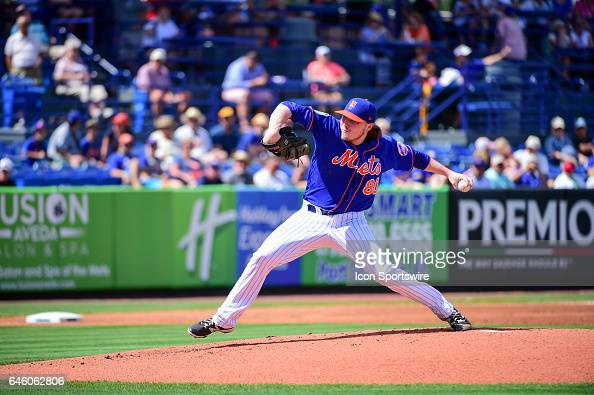 New York Mets pitcher PJ Conlon delivers a pitch during a Spring Training game between the Houston Astros and New York Mets on February 27 2017 at...