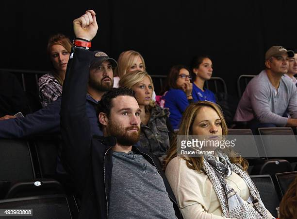 New York Mets player Daniel Murphy attends the game between the New York Islanders and the Boston Bruins at the Barclays Center on October 23 2015 in...