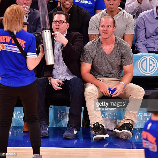 New York Mets player Noah Syndergaard attends the Charlotte Bobcats vs New York Knicks game at Madison Square Garden on April 6 2016 in New York City