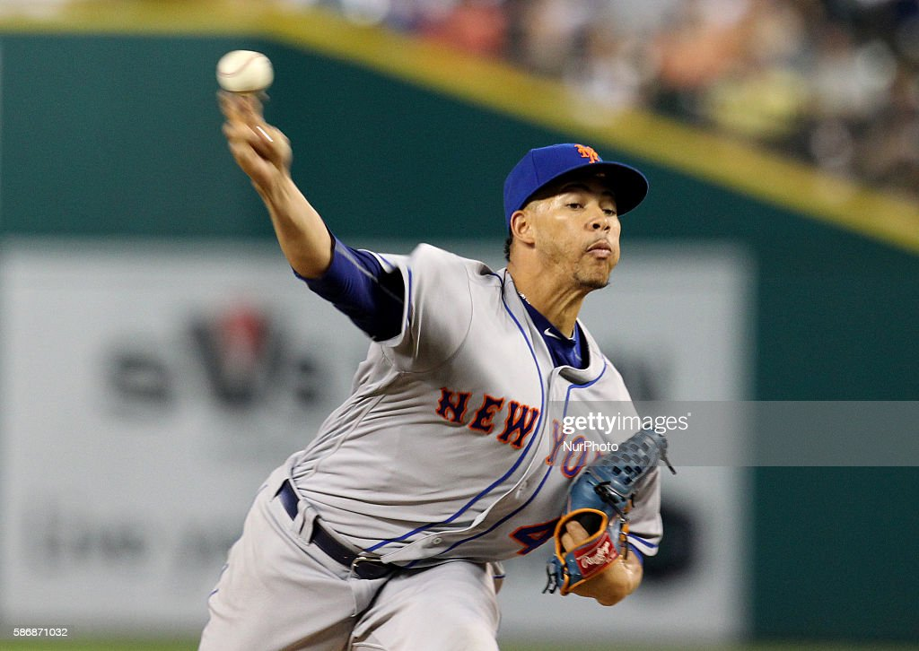 New York Mets relief pitcher Hansel Robles delivers a pitch in the eighth inning of a baseball game against the Detroit Tigers in Detroit Michigan...